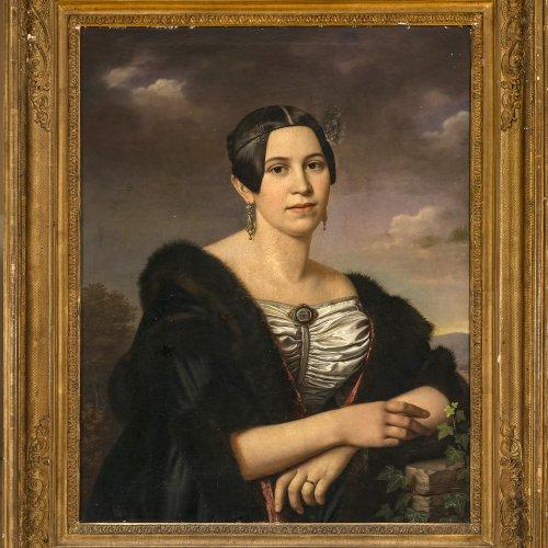 Rausch, Bernhard Peter, Porträt eines vornehmen Mädchens. Öl/Lw. 81 x 64 cm. Rest. Sign., dat. 1839.