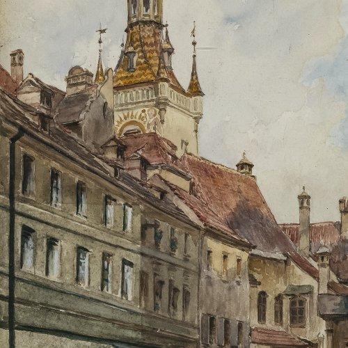 Czech, Emil, Turm des Alten Rathauses in München, Aquarell, 27,5 x 14,5 cm.