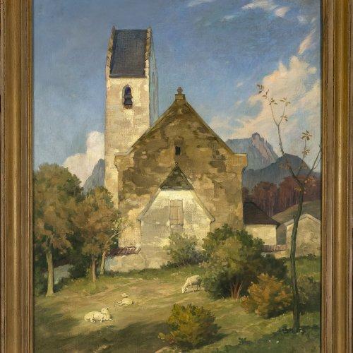 Müller-Samerberg, Karl Hermann. Blick auf die Kirche von Roßholzen, Öl/Lw. 81 x 64 cm.
