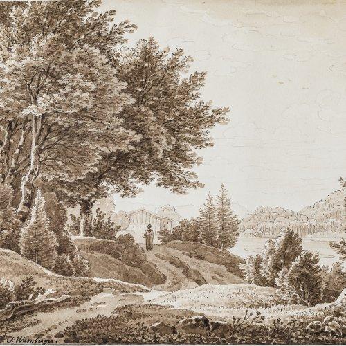 Warnberger, Simon. Oberbayrische Landschaft. Feder und Pinselzeichnung. 16 x 21,5 cm. Sign.
