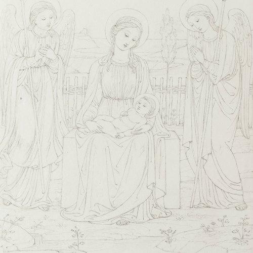 Eberhard, Konrad. Jungfrau Maria mit Kind von zwei Engeln flankiert. Bleistiftzeichnung. 26,5 x 21 cm. Sign., dat. 1820.
