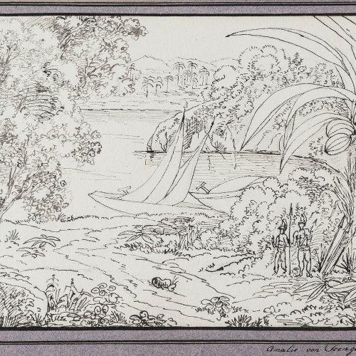 Stengel, Franziska Amalia Leopoldine, Freiin von. Kleine brasilianische Landschaft. Tusche. 15,5 x 23 cm. Sign., dat. 1824.