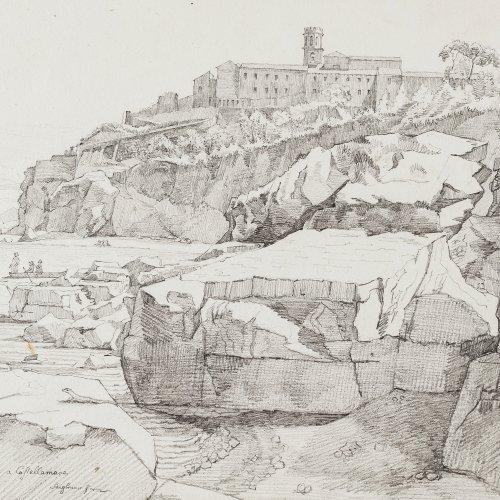 Stiglmaier, Johann Baptist. Blick auf den Strand und das Kastell von Castellammare. Bleistiftzeichnung. 21 x 29 cm. Sign., rücks. bez.: