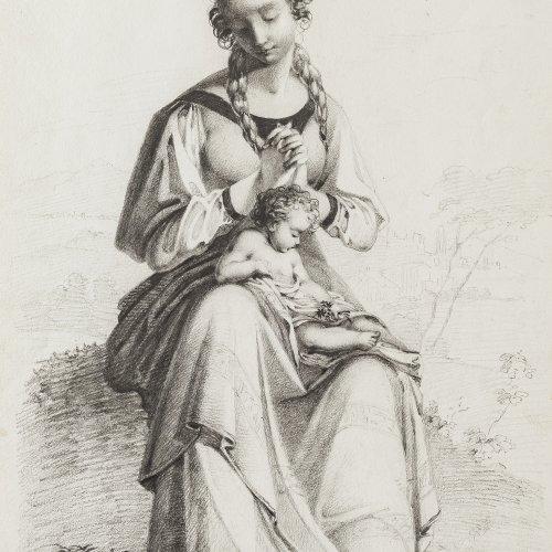 Weller, Theodor Leopold. Junges Mädchen mit einem kleinen Kind auf dem Schoß. Bleistiftzeichnung. 29,2 x 21 cm. Monogr., dat. 1823.