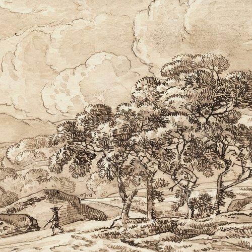 Kobell, Franz. Frühlingslandschaft. Federzeichnung. 11,9 x 20 cm. Rücks. sign.: Fz. Kobell f. , dat. 1815.