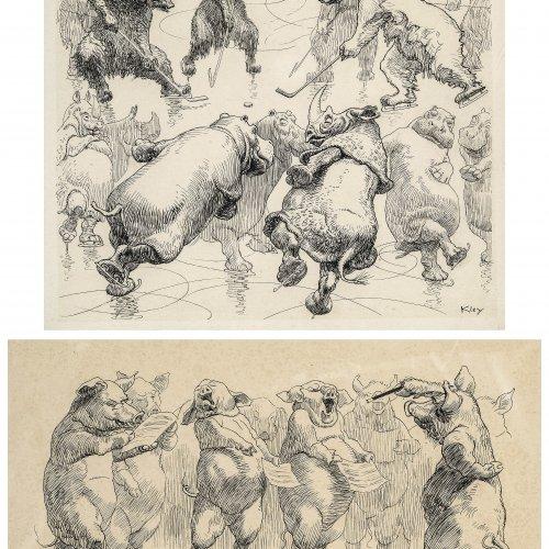 Kley, Heinrich, Zwei humoristische Darstellungen der Verkehrten Welt: Bären bei Eishockeyspielen bzw. Chor der Schweine. Lithographien. 26 x 28 cm bzw. 19 x 32 cm.