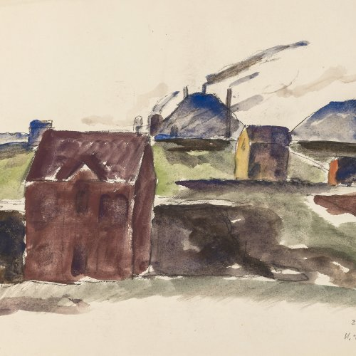 Schröder, Heinrich. Häuser. Aquarell. 27 x 35,5 cm. Sign., dat. 29.II.20.