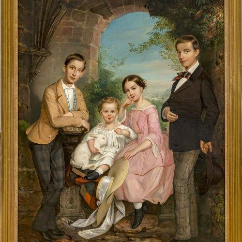 Happel, Carl, Kindergruppenporträt, Öl/Lw. 145 x 109 cm.