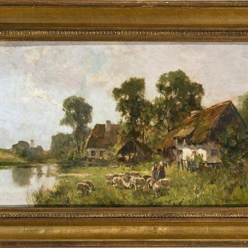Heinisch, Carl, Bauernhof mit Bäuerinnen und Schafen, Öl/Karton, 26,5 x 43 cm.