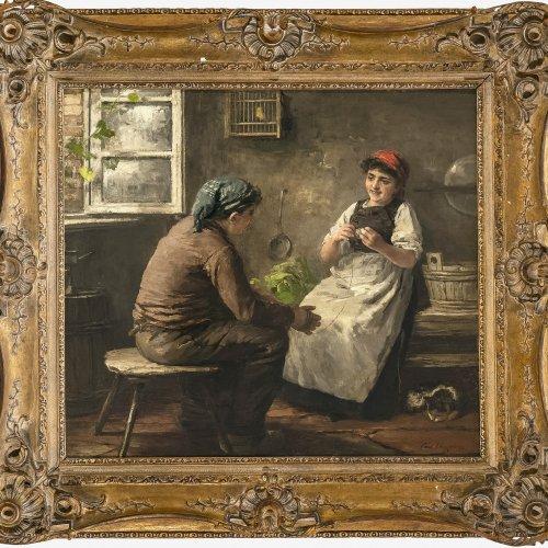 Herpfer, Carl(?),  Dirndl und Bursche beim Garnwickeln, Öl/Lw. 56 x 65 cm.