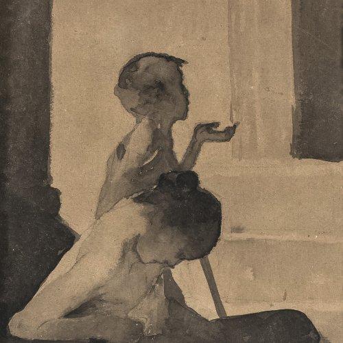 Mucha, Alfons, zugeschrieben. Bettelnde Kinder, Tuschpinselzeichnung, 23 x 10,5 cm. Sign.