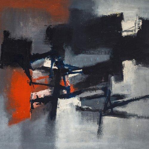 Brust, Karl Friedrich, Abstrakte Komposition, Öl/Lw. 80 x 105 cm.