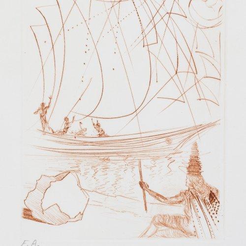 Dali, Salvador, surrealistische Komposition, Farbradierung.