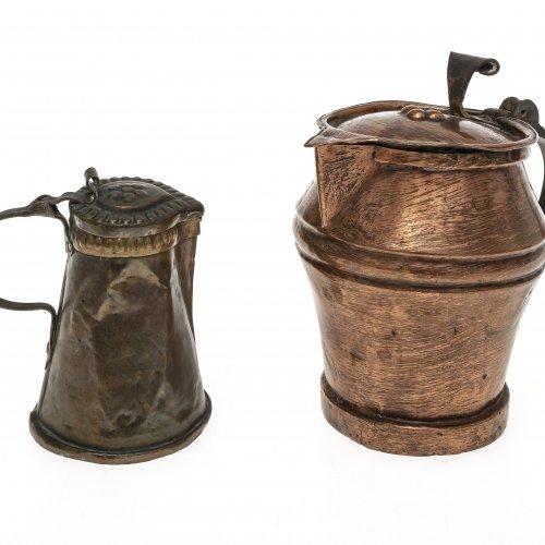 Miniaturschnabelstitze und Deckelkrug, Kupfer, 18./19. Jh., H. 9-13 cm.