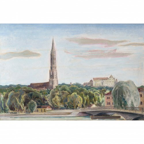 Blick auf die Martinskirche in Landshut, mit der Isar im Vordergrund. Öl/Lw.  60 x 90 cm. Signatur übermalt.