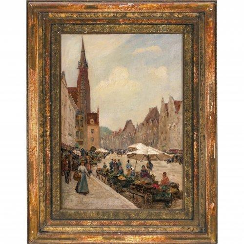 Lipps, Richard. Blick in die Altstadt von Landshut mit der Martinskirche. ÖL/Lw. 48 x 34 cm. Sign.