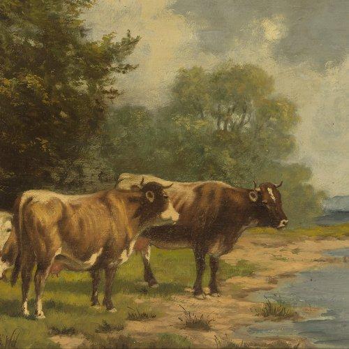 Voltz, Ludwig. Kühe am Wasser. Öl/Holz. 21 x 38 cm. Sign.