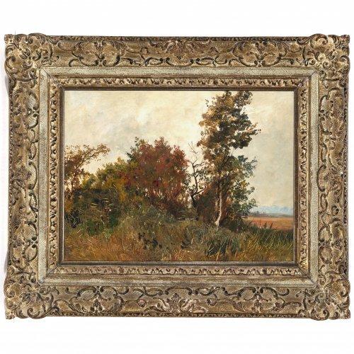 Wenglein, Josef, Voralpenlandschaft im Herbst, Öl/Papier/Lw., 29 x 40 cm.