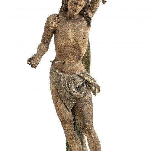 Hl. Sebastian. Süddeutsch, 16. Jh. Holz, übergangene Farbfassung. Rest., erg. H. 160 cm.