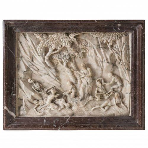Zwei museale Alabaster-Reliefs. 1) Moses schlägt Wasser aus dem Felsen. 2) Vision des Propheten Ezechiel von der Auferweckung Israels. Mit schöner Marmorumrahmung. 26,5 x 34 cm.