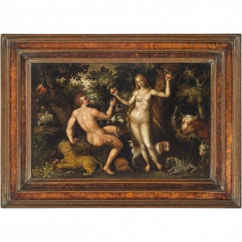 Deutsch, 17. Jh. Paradies mit Sündenfall. Öl/Holz. 27 x 42 cm. Rest., unsign.