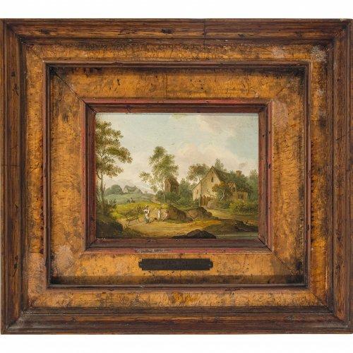 Teerlink, Abraham, zugeschrieben. Szene vor einem Bauernhaus. Öl/Holz. 11,3 x 15 cm. Unsign.
