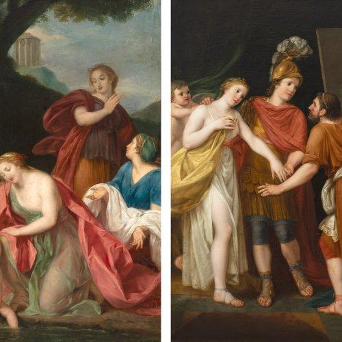 Nahl d.J., Johann August.  Zwei Gemälde: Thetis taucht Achilles in den Styx bzw. Apelles und die Geliebte Alexander d. Großen, Öl/Lw. 145 x 98/99 cm. Mit Gutachten.