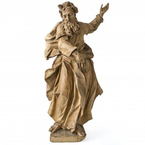 Moses, süddeutsch, 18. Jh., Lindenholz, ungefasst, H. 83 cm.