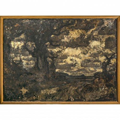 Baer, Fritz, Große Landschaft im Herbst, Öl/Lw./Karton, 147 x 200 cm. Sign.