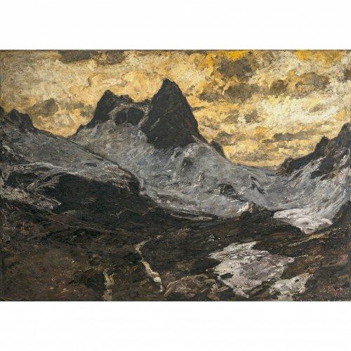 Baer, Fritz, Madatsch-Gletscher, Öl/Lw. 149 x 201 cm. Sign. Rückseitig Ausstellungsetikett: