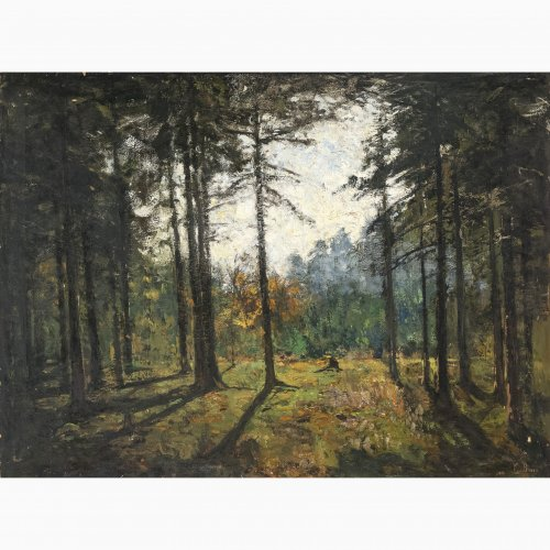 Baer, Fritz, Fichtenwald im Gegenlicht, Öl/Lw. 75 x 100 cm, sign.