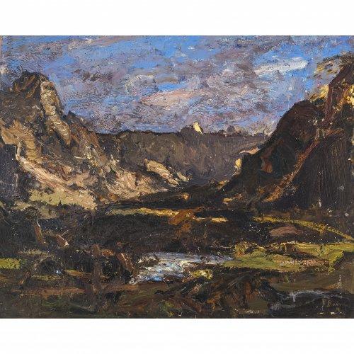 Baer, Fritz, Morgen im Hochtal, Öl/Lw. 49 x 61 cm. Sign.