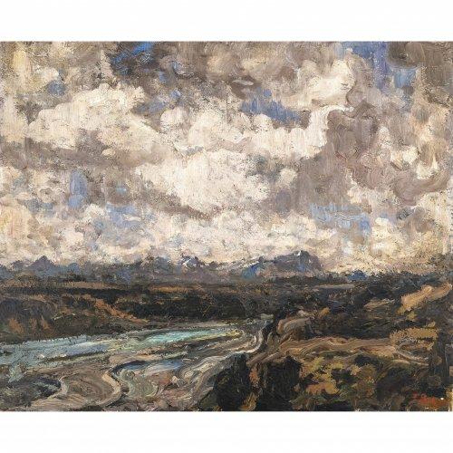 Baer, Fritz, Herbst an der Isar bei Wolfratshausen. Öl/Leder (?)/Lw. 53 x 64 cm.