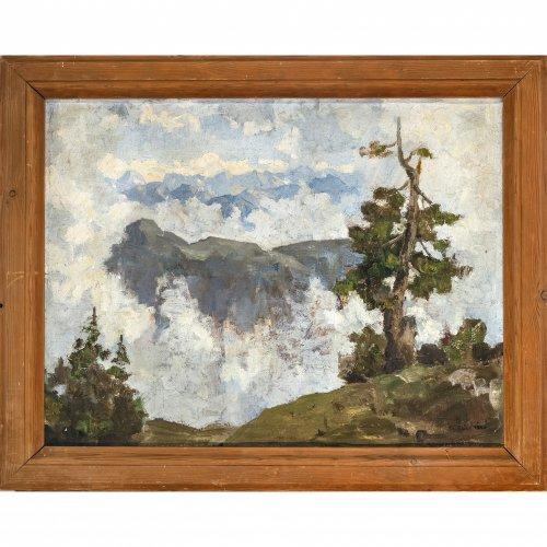 Baer, Fritz Carl, Wetterfichte im Karwendel. Öl/Lw. 49 x 64 cm. Sign., undeutlich dat. 1940 (?).