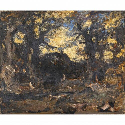 Baer, Fritz, Abend unter den Eichen, Öl/Lw. 54 x 65 cm. Rückseitig sign.