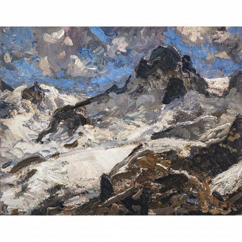 Baer, Fritz. Mittags am Gletscher. Öl/Lw. 49 x 62 cm. Sign.