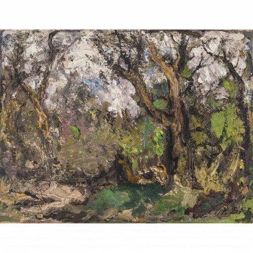 Baer, Fritz. Eichenwald im Mai. Öl/Lw. 44 x 58 cm. Sign.