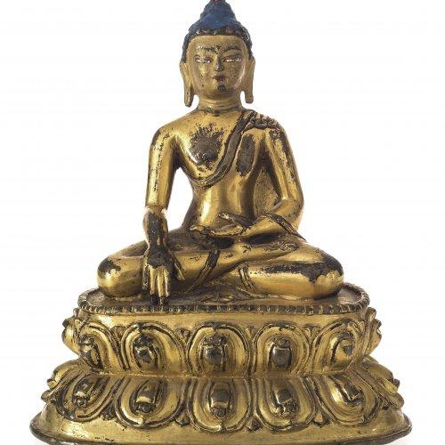 Buddha auf Lotosthron. Bronze. H. 11,7 cm. Tibet