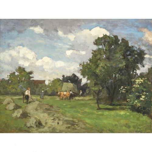 Baer-von Mathes, Carola, Heuernte, Öl/Lw. 52 x 69 cm. Sign.
