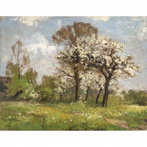 Baer-von Mathes, Carola. Blühende Bäume, Öl/Lw. 53 x 68 cm. Sign.
