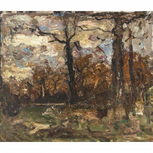 Baer, Fritz. Herbst im Wald, Öl/Lw. 57,5 x 67,5 cm. Sign.