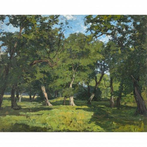 Baer-von Mathes, Carola. Hainbuchen im Sommer. Öl/Lw. 49 x 61,5 cm. Sign.