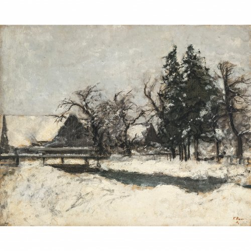 Baer, Fritz. Winterabend in Pipping. Öl/Lw. 52 x 65 cm. Sign.
