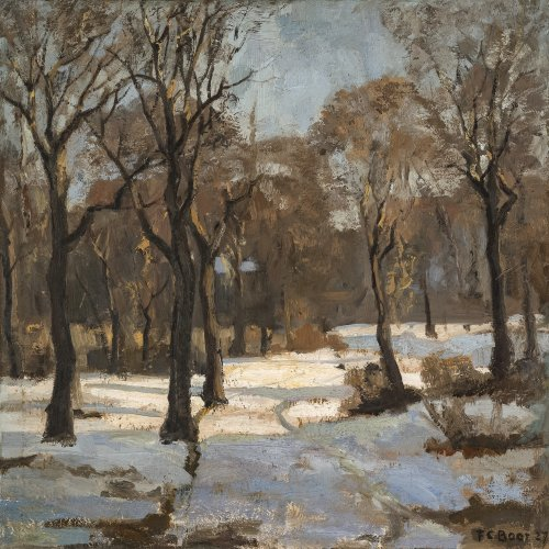 Baer, Fritz Carl. Winterlandschaft mit Bäumen. 55 x 55 cm. Sign.