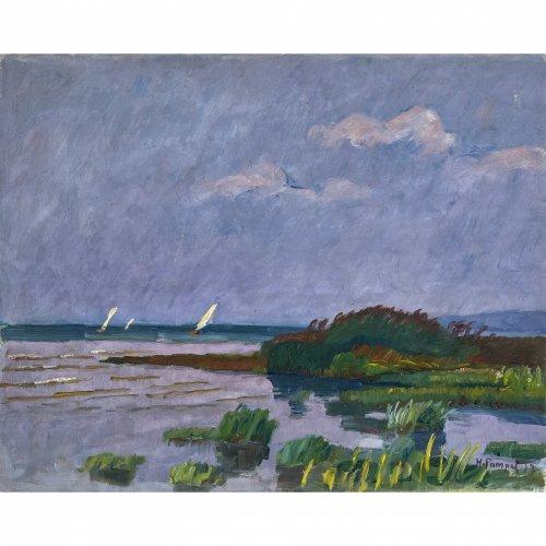Pampel, Hermann, Seeufer mit Segelbooten, Öl/Lw. 52 x 64 cm. Sign.
