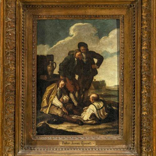 Quast, Pieter, Umkreis, rastende Bauern am Flussufer beim Kartenspiel, Öl/Lw. 33 x 24,5 cm.