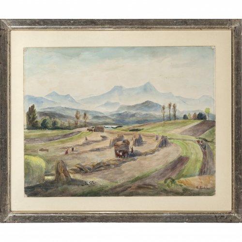 Heidner, Heinrich, Erntezeit im Chiemgau. Aquarell. 40 x 51 cm. Sign.