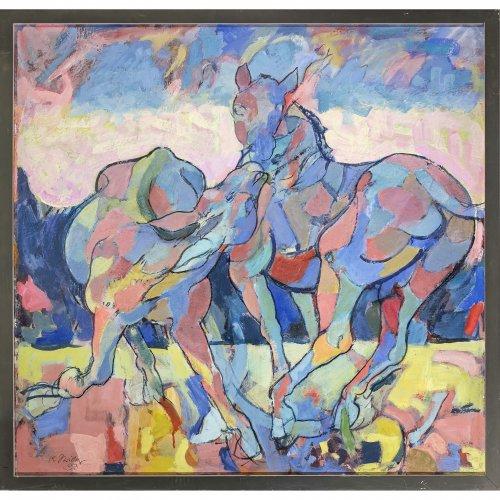Schricker, Karl. Spielende Pferde auf der Koppel. Öl/Lw./Karton. 89 x 93 cm. Sign., dat. 93.