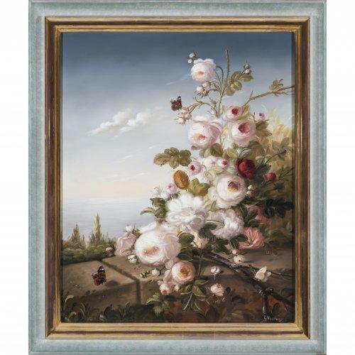 Schwammberger, Hildegard. Blumenstück mit Insekten auf einer Balustrade. Öl/Lw. 73 x 59,5 cm. Sign.