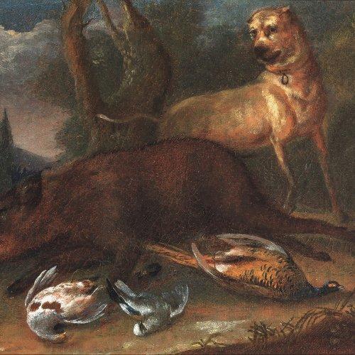 Winter, Joseph Georg, zugeschrieben, Jagdstück mit Keiler, Öl/Lw. 21,5 x 30,5 cm.